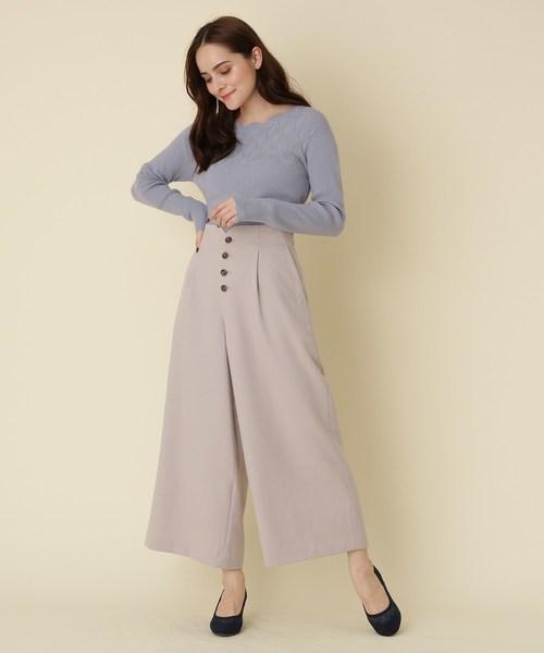 [Couture brooch] 【WEB限定サイズ(LL)あり/手洗い可】透かしニットスカラップネック