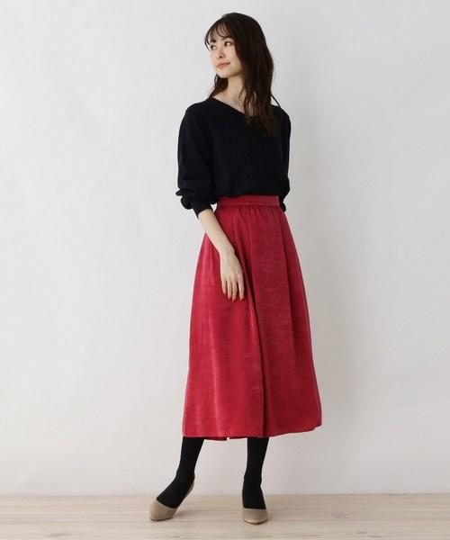 [SOUP] 【大きいサイズあり・17号・19号】カラーサテンAラインスカート
