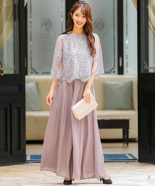 [Fashion Letter] レーストップスワイドパンツ 結婚式ワンピース パンツドレス