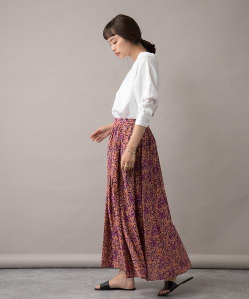 [LANDWARDS] 【Audrey and John Wad】花柄×ラメストライプ フレアマキシスカート