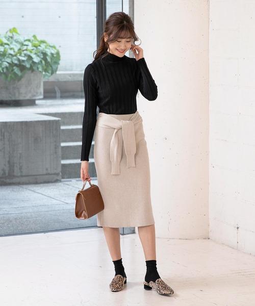 [kobelettuce] ウエストリボンタイトニットスカート
