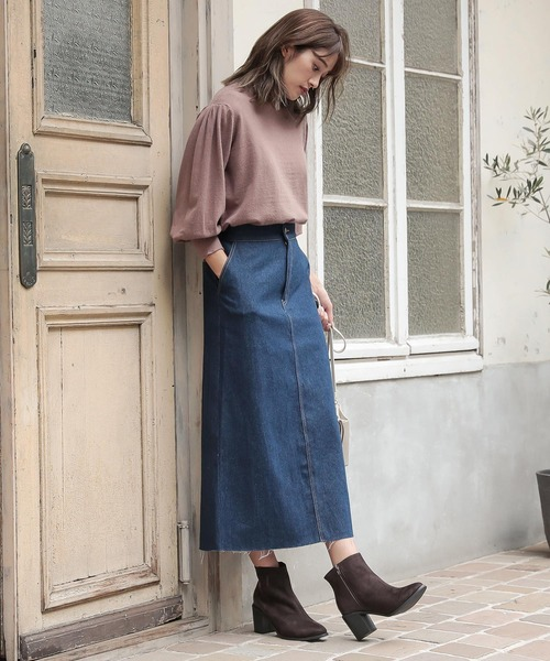 [kobelettuce] バックスリットデニムタイトスカート