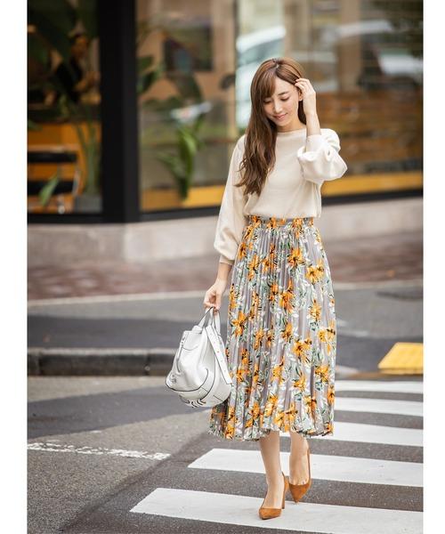 [tocco closet] フラワーアコーディオンプリーツスカート