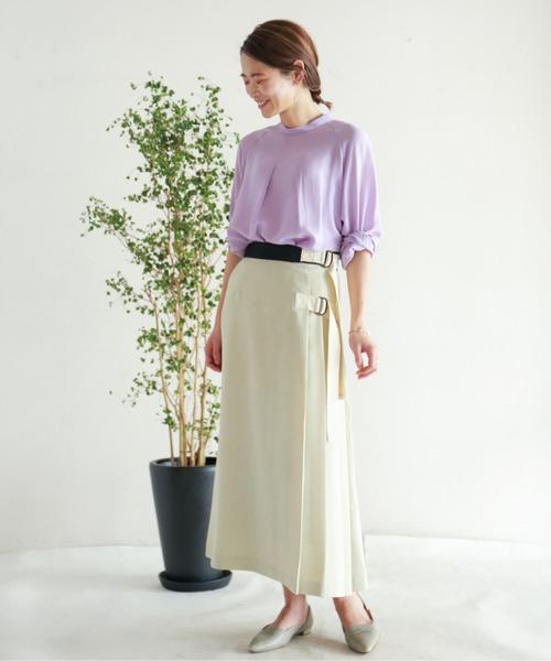 [NOMBRE IMPAIR] オックスシャンブレー サイドプリーツスカート