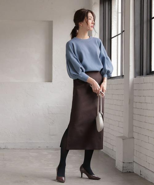 [kobelettuce] ふんわり裏微起毛スーパーストレッチタイトスリットスカート