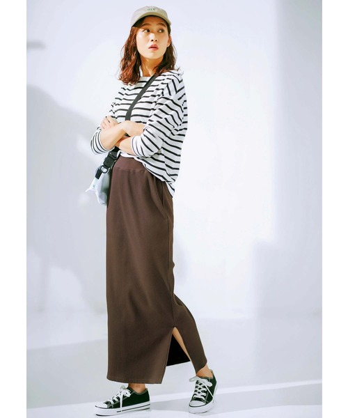 [GeeRA] 【20春新着】リブカットソーロングスカート