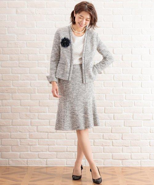 [White Closet] ニットツィードマーメイドスカート
