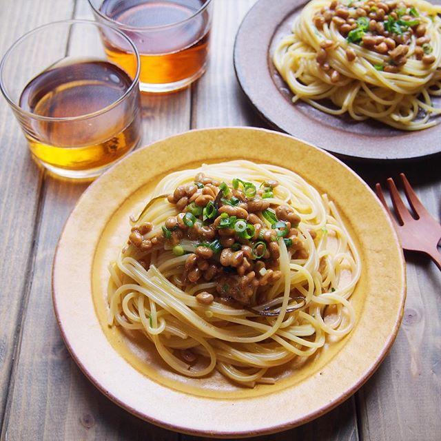 発酵食品料理のレシピ!納豆と塩昆布のパスタ