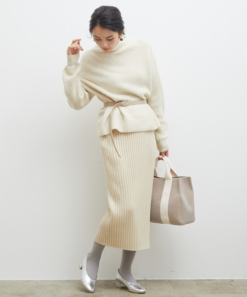 [ROPE' PICNIC] ワイドリブラメニットスカート