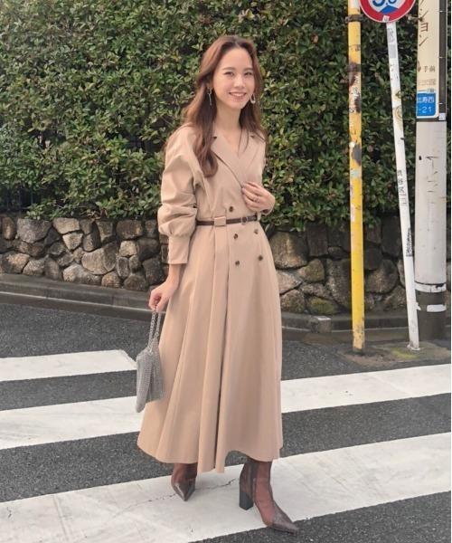 [Ameri VINTAGE] LONG COAT LIKE BELT DRESS