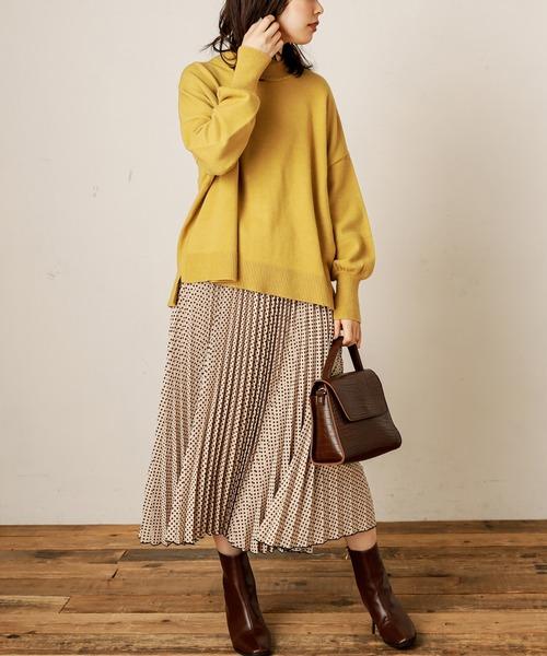 [natural couture] レトロ幾何学柄プリーツスカート