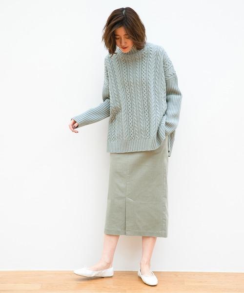 コーデュロイスカートの冬コーデ