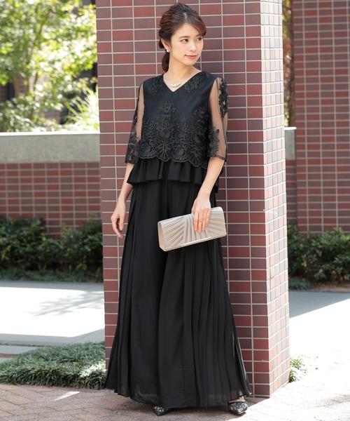 [SMILE ORCHID] セットアップ2点セット/ 刺繍トップス&プリーツパンツ /結婚式・お呼ばれパンツドレス