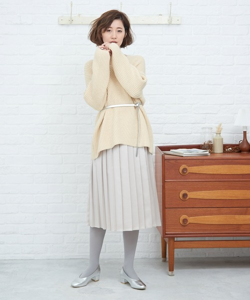 [ROPE' PICNIC] ビスコース風サテンプリーツスカート