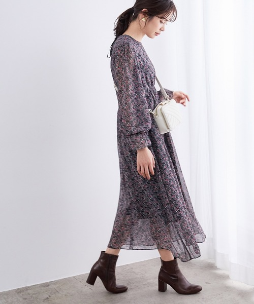[ROPE'] フラワープリントドレス