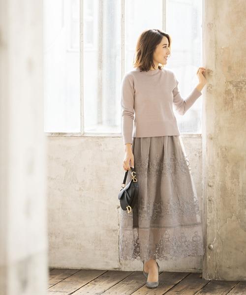 [tocco closet] 《高田麻紀子さんコラボ》刺繍レースマキシスカート