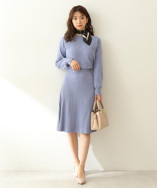 [PROPORTION BODY DRESSING] 【ブラック・ブルーWEB限定カラー】ドットスカーフベルト付きニットワンピ
