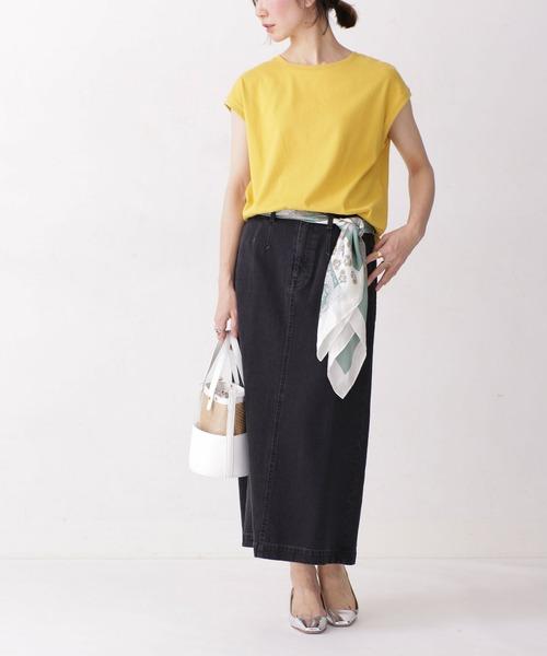 フレンチスリーブTシャツ×デニムスカート
