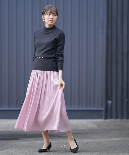 [rps] シャイニーサテンギャザースカート