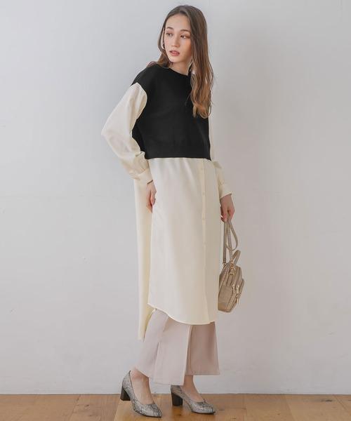 [rectangle] ニットベスト×シャツ フェイクレイヤードワンピース