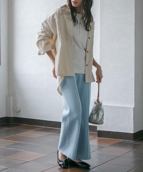 6月の軽井沢:ニットタックパンツの服装