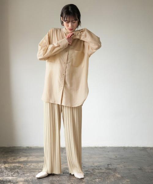 [LOWRYS FARM] シルキーシアーロングシャツ 871370