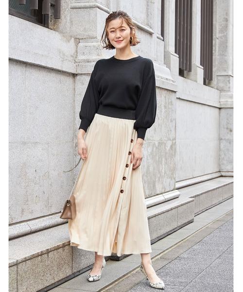 [tocco closet] レザーボタンプリーツスカート