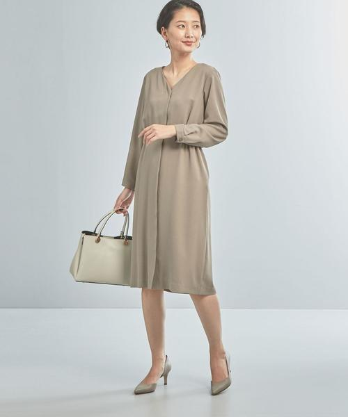 [green label relaxing] 【WORK TRIP OUTFITS】★WTO CS クレープ ハイウエストワンピース