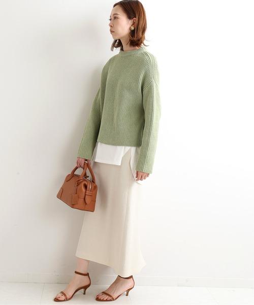 リブニット×ライトツイードスカート
