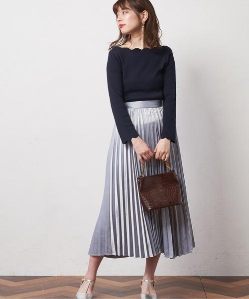 [natural couture] スカラップお上品ニット
