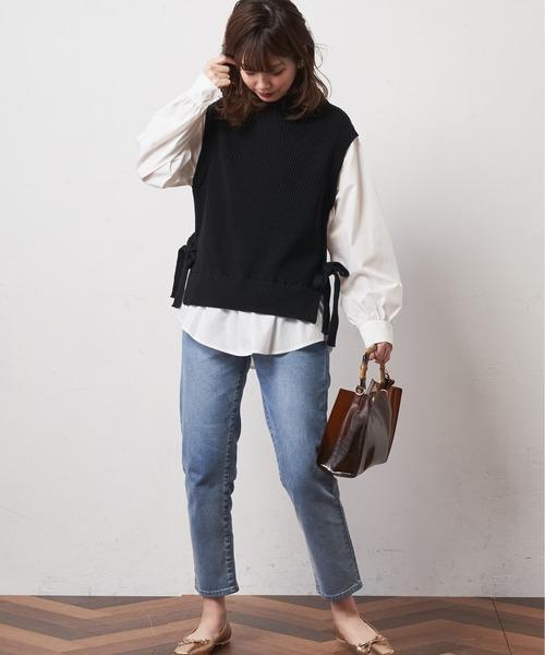[natural couture] シャツドッキングニットベストプルオーバー