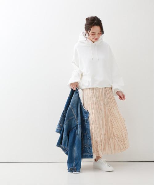 [Spick & Span] シフォンストライプ プリーツスカート◆