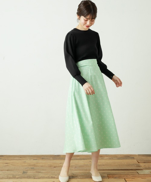 [natural couture] バルーンスリーブリブニット