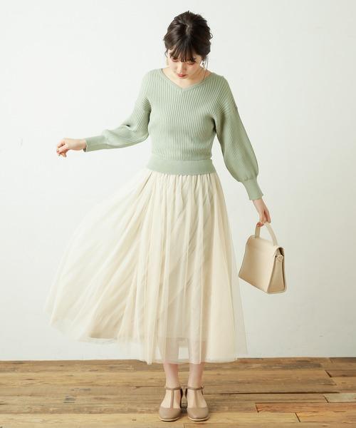 [natural couture] ニット×チュールドッキングワンピース