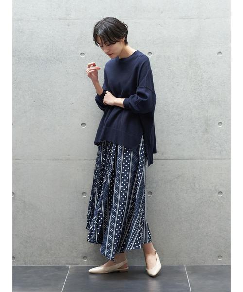 6月の軽井沢:部分プリーツスカートの服装