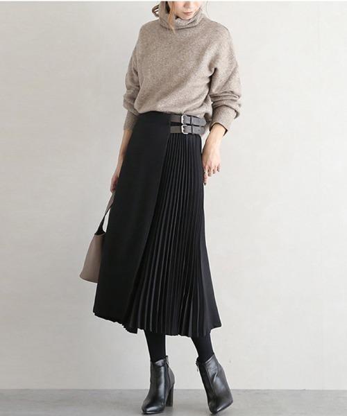 [FRP] サイドプリーツ ラップ スカート