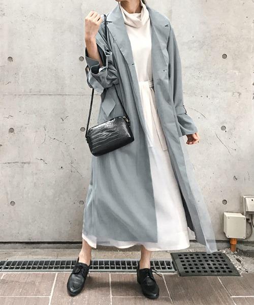 [Fashion Letter] スプリングコート チュールトレンチコート 20SS
