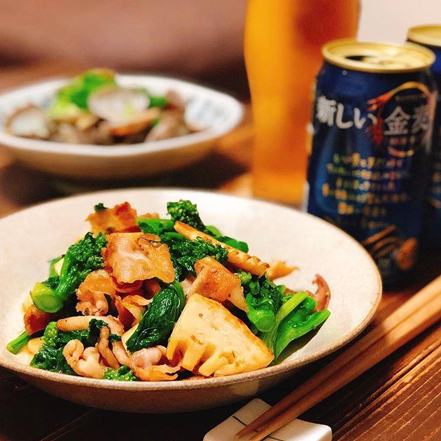 隙間に人気豚肉と菜の花と筍のガーリック炒め