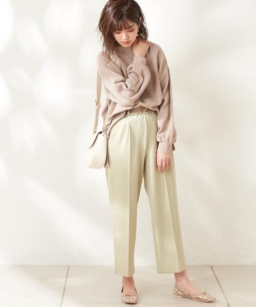 [natural couture] おしゃれゴムベルト付きパンツ