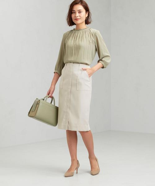 [green label relaxing] [手洗い可能] ◆D エアレット ダブルクロス タイト スカート