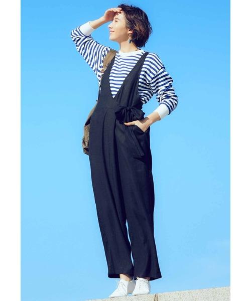 [FELISSIMO] リブ イン コンフォート サラリときれいめに着られる 麻混カシュクールサロペット