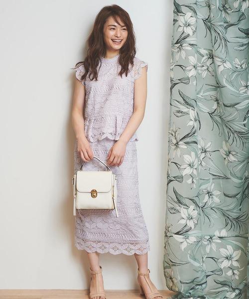 [Noela] カラーレースタイトスカート
