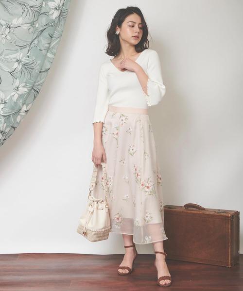 [Noela] オパールフラワースカート