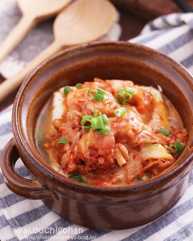 腸内環境を改善できるレシピ!ツナキムチーズ豆腐