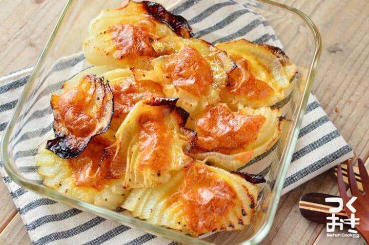 ナポリタンのメニューに!玉ねぎのチーズ焼き