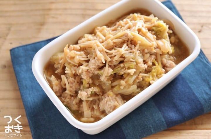 簡単料理に!白菜とえのきの鶏そぼろ煮
