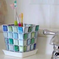 植木鉢で歯ブラシ立て
