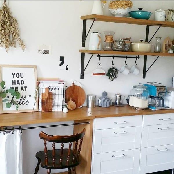 キッチンの小さなワークスペース