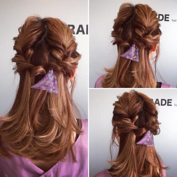編み込み風まとめ髪