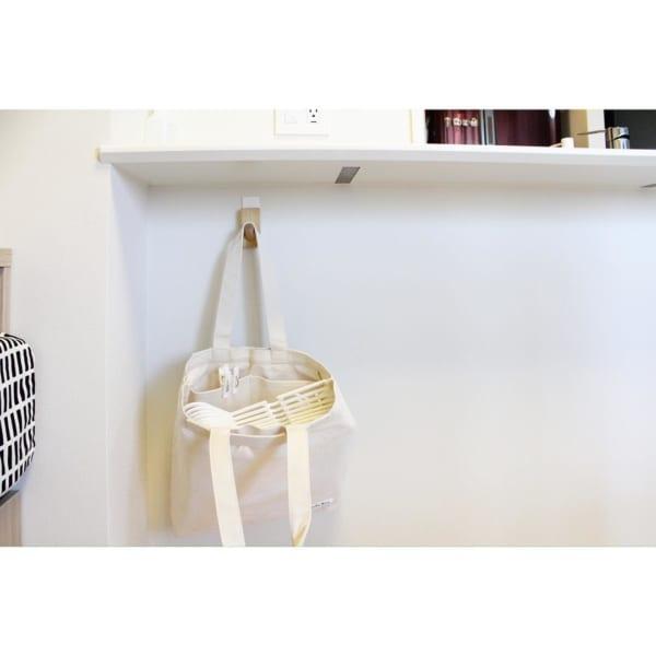 トートバッグを使った洗濯バサミ収納
